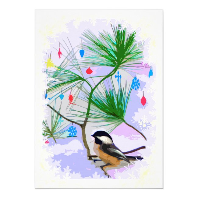 Chickadee Bird in Tree Winter Solstice Invitation