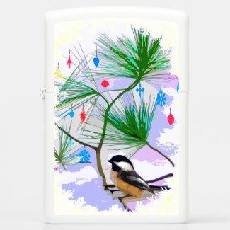 Chickadee Bird in Tree Zippo Lighter