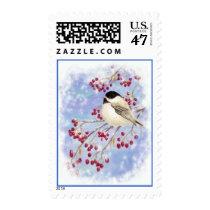 Chickadee Bird in Winter Snow Berry Postage