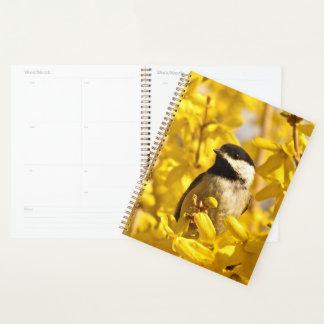 Chickadee Bird in Yellow Flowers Animal Nature Planner