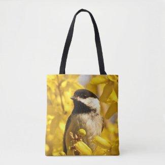 Chickadee Bird in Yellow Flowers Animal Tote Bag