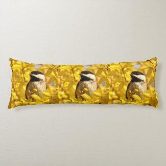 Chickadee Bird in Yellow Flowers Body Pillows