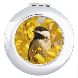 Chickadee Bird in Yellow Flowers Compact Mirror