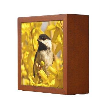 Chickadee Bird in Yellow Flowers Desk Organizer