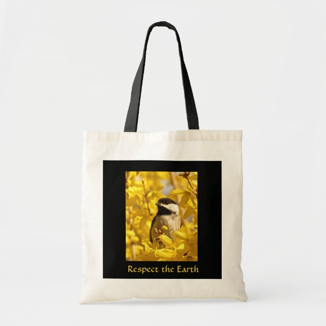 Chickadee Bird in Yellow Flowers Earth Day Bag