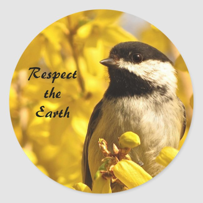 Chickadee Bird in Yellow Flowers Earth Day Sticker
