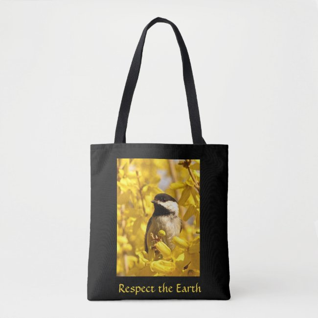 Chickadee Bird in Yellow Flowers Earth Day