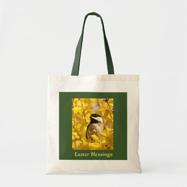 Chickadee Bird in Yellow Flowers Easter Bag