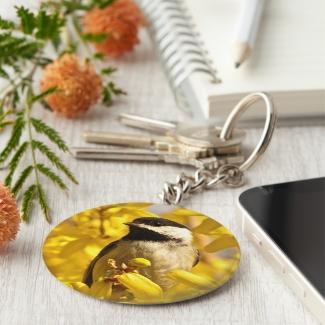 Chickadee Bird in Yellow Flowers Keychain