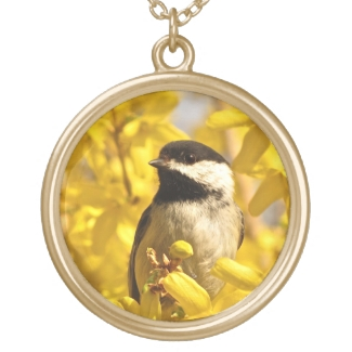 Chickadee Bird in Yellow Flowers Necklace