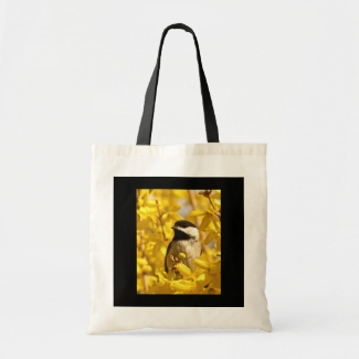 Chickadee Bird in Yellow Flowers Tote Bag