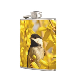 Chickadee Bird in Yellow Forsythia Flowers Flask