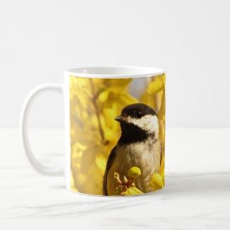 Chickadee Bird in Yellow Forsythia Flowers Mug