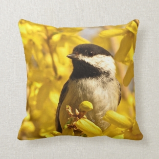 Chickadee Bird in Yellow Forsythia Flowers Pillow