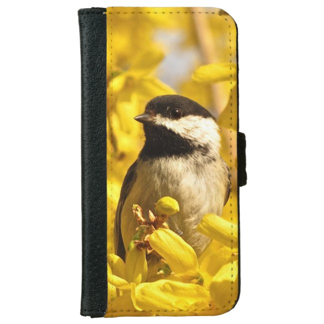 Chickadee Bird on Flowers iPhone 6 Wallet Case