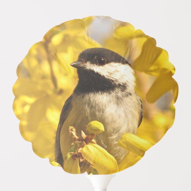 Chickadee Bird on Yellow Flowers Balloon