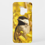 "Chickadee Bird on Yellow Flowers Galaxy S9 Case<br><div class=""desc"">This Samsung Galaxy S9 case features an adorable black and white chickadee among gold and yellow forsythia flowers. This sweet little bird is one of the friendliest creatures in the animal kingdom. Wonderful for gardeners or birders!</div>"