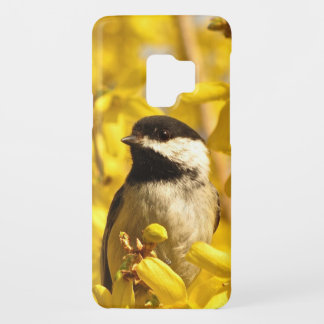 Chickadee Bird on Yellow Flowers Galaxy S9 Case