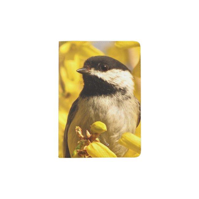 Chickadee Bird on Yellow Flowers Passport Holder
