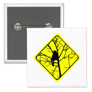 Chickadee Bird Silhouette Caution or Crossing Sign Pins