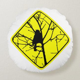 Chickadee Bird Silhouette Caution or Crossing Sign Round Pillow