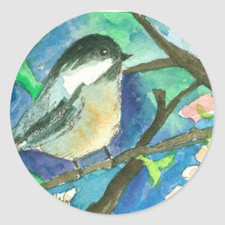 Chickadee Birds Tree Branches Watercolor Painting Classic Round Sticker