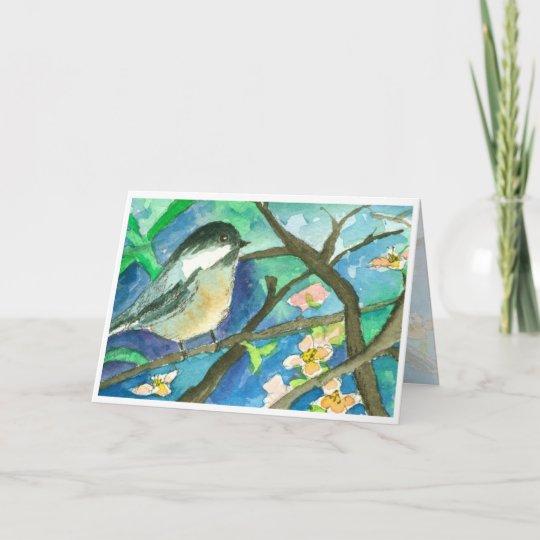 Chickadee Birds Watercolor Painting Happy Birthday Card