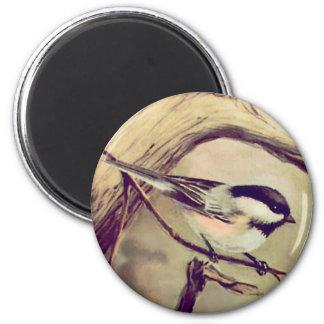 CHICKADEE by SHARON SHARPE 2 Inch Round Magnet