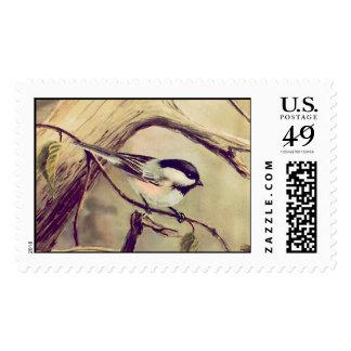 CHICKADEE by SHARON SHARPE Postage Stamps