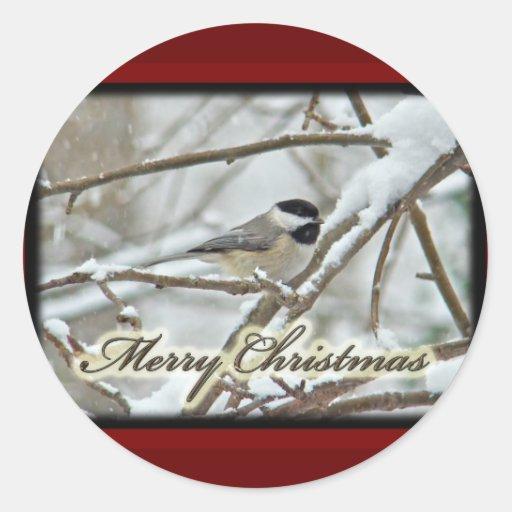 Chickadee capsulado negro del navidad en nieve pegatina redonda