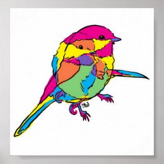 chickadee color overlap poster