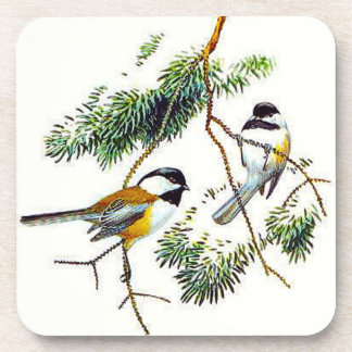 Chickadee Cork Coasters