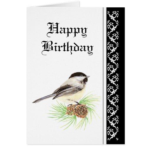 Chickadee del cumpleaños con la bendición de la es tarjeta