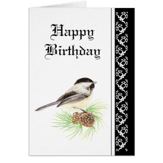 Chickadee del cumpleaños con la bendición de la tarjeta de felicitación