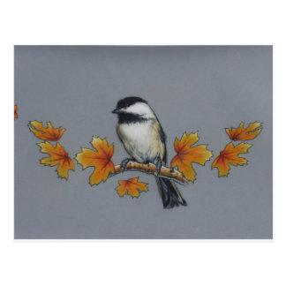 Chickadee del otoño tarjetas postales