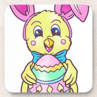 Chickadee Easter Bunny Beverage Coaster