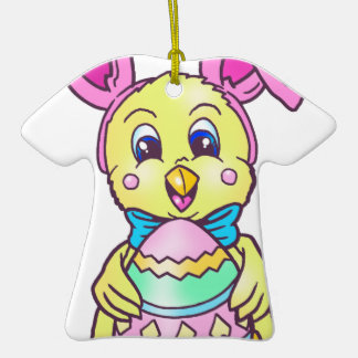 Chickadee Easter Bunny Double-Sided T-Shirt Ceramic Christmas Ornament