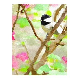 Chickadee en el cerezo membrete personalizado