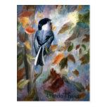 Chickadee en la postal de la caída