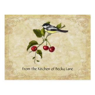 Chickadee en tarjetas de la receta de la rama de l tarjeta postal