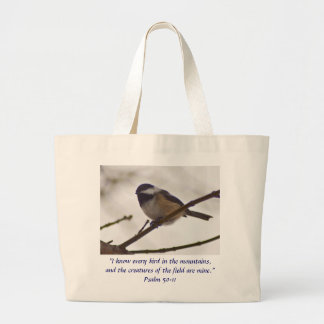 Chickadee en una ramita bolsa tela grande