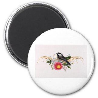 Chickadee floral imán redondo 5 cm
