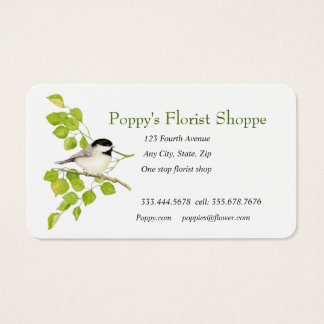 Chickadee Florist Shopp Flowers Business Card
