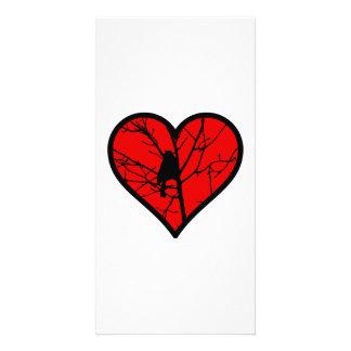 Chickadee Heart Love Birds Silhouette Card