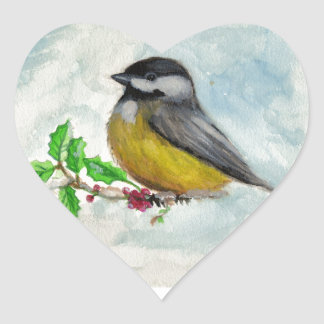 chickadee heart sticker