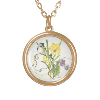 Chickadee Hiding in the flowers Round Pendant Necklace