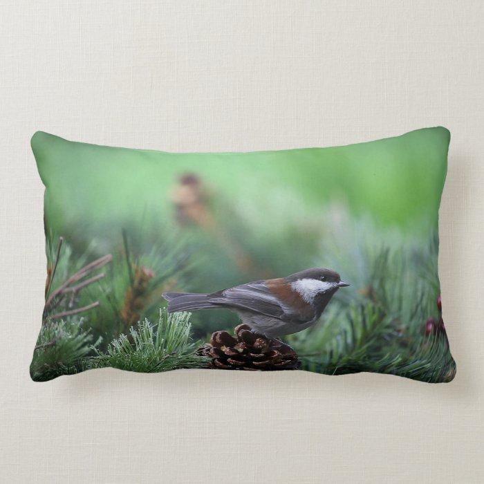 chickadee in a winter setting lumbar pillow