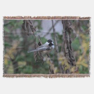 Chickadee in autumn throw blanket