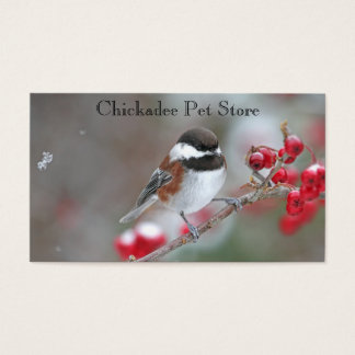 Chickadee in Falling Snow with Red Berries Business Card
