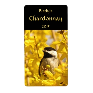 Chickadee in Forsythia Flowers Wine Labels